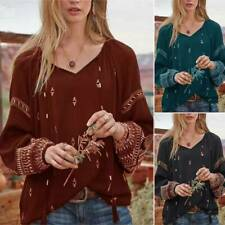 Womens Boho V-Neck Floral Tops Casual Long Sleeve Baggy Shirt Blouse Plus Size