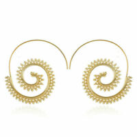 BOHO ETHNIC TRIBAL SWIRL SPIRAL HOOP EARRINGS GOLD PLATED 1 PAIR UK SELLER