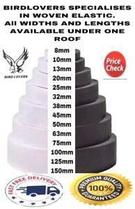 PREMIUM WHITE/BLACK Flat WOVEN ELASTIC BAND SEWING GARMENT VARIOUS LENGTHS/WIDTH
