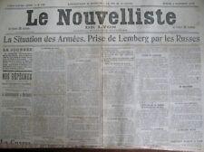 WW1 PRISE DE LEMBERG COMMUNIQUéS DE GUERRE LE NOUVELLISTE DE LYON 3/9/1914