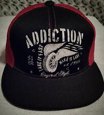 Addiction Motorcycle Biker Cap Tattoo Skull Goth Mesh Trucker Hat Wing n Wheel