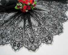 3 Meters Black French Style Chantilly Eyelash Double Edge Lace Trim Width 42 CM