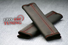 FOR TOYOTA LAND CRUISER BLACK GENUINE LEATHER 2X SEAT BELT COVERS PADS RED ST