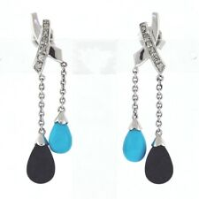 Vintage 14K Gold 0.10ctw Diamond, Turquoise, & Black Onyx Drop Earrings