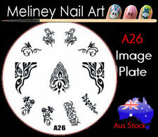 A26 Stamping Nail Art Image Plate Design Round XL Stencil metal