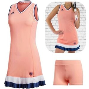 Adidas Ladies Tennis Dress With Trousers French Open Paris Sports Orange Coral