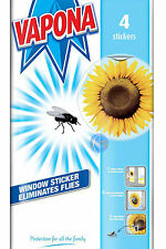 VAPONA FLY KILLER WINDOW STICKERS PACK OF 4. GOOD VALUE!!!