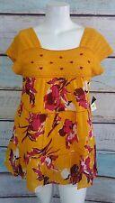Lane Bryant Orange Pink Floral  Boho Peasant Shirt Top Blouse 16