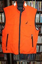 Nautica orange with Navy Blue Stitching Trim Zip Front Vest Mens L  (bin82)