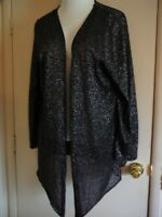 Woman's Jacket Shawl Knit French Laundry Size 14/16 Black Metallic Open Front