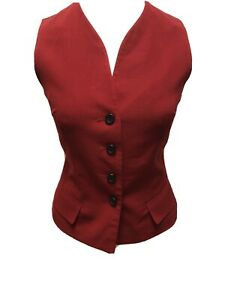 Ann Taylor Petites 4P Red 100% Wool Buttoned Vest