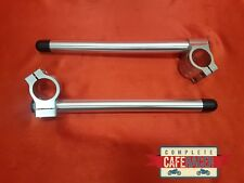 CAFE RACER 33mm CLIP ON HANDLE BARS IN SILVER