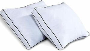 800 Thread Count Hollowfibre Filled Double Piping Edges Pair Of Sleeping Pillows