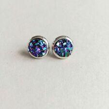 Iridescent Druzy Copper Rock Stone Small Stud Earrings Pop Women Chic Style