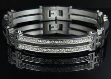 Mens White Gold Finish Bangle Bracelet Simulated Lab Diamond 9MM 8.5 inches