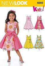 NEW LOOK SEWING PATTERN GIRLS DRESS ^ SASH SIZE 3 - 8  6202