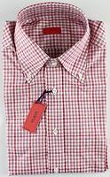 NWT ISAIA DRESS SHIRT check white burgundy luxury handmade Italy 40 15 3/4