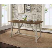 New Distressed White Plank Wood Top Metal Dining Desk Table Farm House Rustic