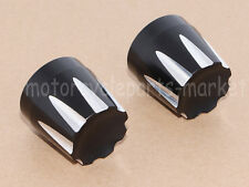 Black Front Deep Edge Cut Axle Nut Cover For Harley Electra Street Road Glide