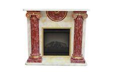 Elektrokamine Kamine Elektrokamin Säulenkamin  Marmor Beige Rot Gold Kamin Antik