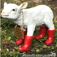 Large 36cm Lamb in Red Wellies garden ornament decoration great Sheep lover gift