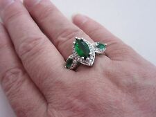 925 Sterling Silver Ring With Emerald Quartz & Topaz UK U, US 10  (rg1898)