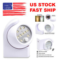 White Motion Sensor LED Night Light Cordless Battery-Powered Indoor/Outdoor NEW