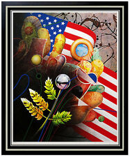 Original YANKEL GINZBURG Signed Silkscreen Artwork USA Abstract Pop Art Framed