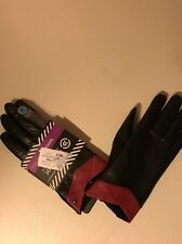 Isotoner Winter Straight Leather Black/red Gloves Retail 60$
