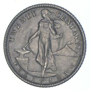 Roughly Size of Nickel 1945 Philippines 20 Centavos World Silver Coin *479