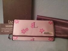 Lancaster Plum Pink Multi Floral Leather Clutch - Made in Italy (box shows wear)