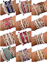 Friendship bracelet  Angel wings infinity charm cross love gold silver colour