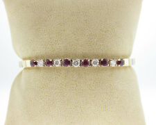 """Genuine Diamonds Rubies Solid 14k Yellow Gold 6.5"""" Bracelet Fine Jewelry"""