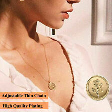 Gold Plated Alloy Round Coin Pendant Rose Flower Engraved Long Chain Necklace
