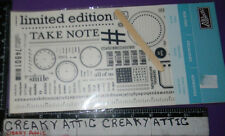STAMPIN UP RUB-ONS TAKE NOTE 2 SHEETS CLOCK GEARS TAPE MEASURE SCAN