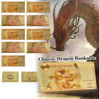 WR 10pcs Gold Foil Chinese Dragon Banknote  ¥1000 Note Money For Collection+COA