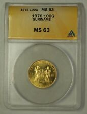 1976 Suriname 100 Gulden Gold Coin ANACS MS-63 Choice
