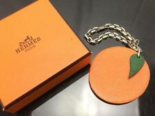 Auth Hermes Orange motif Leather Key Holder 8J090130m*