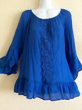 Counterparts Peasant Top Blouse Tunic Shirt Boho Royal Blue XL X-Large #N0517