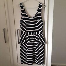 COOPER ST 'Rebellious Attitude' Black & White Peplum Dress Size 12 RRP $149.95