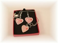 """PLAYBOY Bunny 16"""" NECKLACE SS EARRINGS SILVER Plated HEART Pink ENAMEL Set"""
