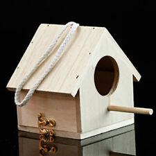 Wooden Small Bird House Outdoor Hanging Bird Hut Shelter with Perch Garden Decor