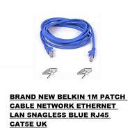 BRAND NEW BELKIN 1M PATCH CABLE NETWORK ETHERNET LAN SNAGLESS BLUE RJ45 CAT5E UK