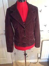 """Stylish M & S Per Una cotton cord jacket, 10, 38, vgc, aubergine  23"""" L"""