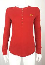 Ralph Lauren LRL Women Long Sleeve Henley T Shirt Top Cotton Red S 6 36 M 8 38