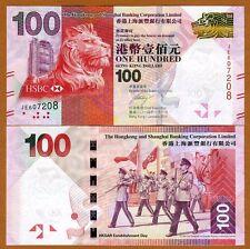 Hong Kong, $100, 2014, HSBC, P-214d, UNC > Lion