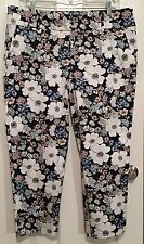 Ann Taylor Modern Fit Cropped Leg Pants Ankle Length Floral Navy Size 14 NWT