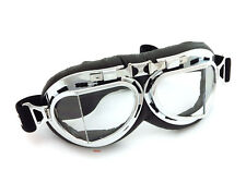 Vintage Aviator Style Motorcycle Scooter Goggles - Black Chrome - Clear Lens