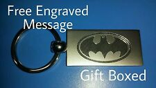 Personalised Chrome BATMAN LOGO Keyring In Gift box with your message ANY TEXT