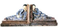 Art Deco Pair of Faience Pottery Bookends Chinese Figures Edition Lehmann 1920